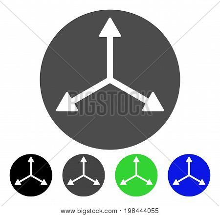 3D Isometry Directions flat vector pictogram. Colored 3d ISOMETRY directions, gray, black, blue, green icon variants. Flat icon style for application design.