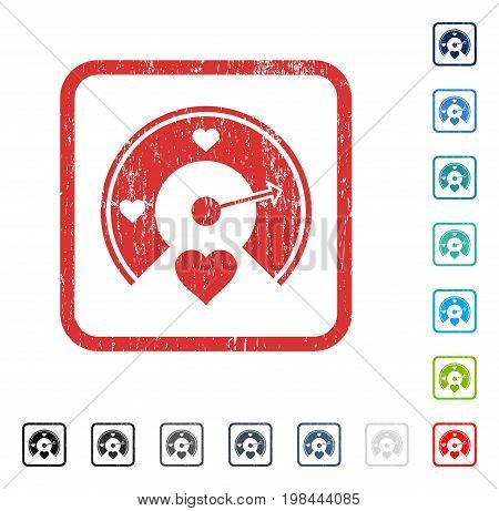 Love Gauge rubber watermark in some color versions.. Vector icon symbol inside rounded rectangular frame with grunge design and unclean texture. Stamp seal illustration, unclean emblem.