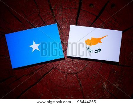 Somalian Flag With Cypriot Flag On A Tree Stump Isolated