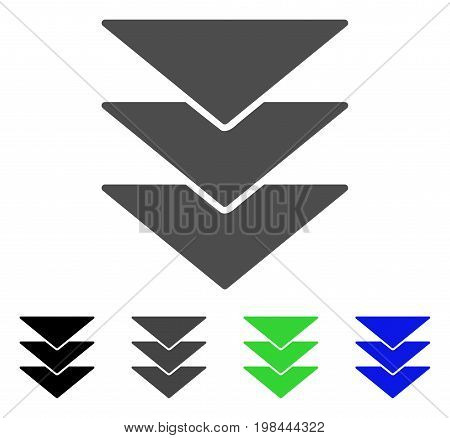 Downloads Direction flat vector illustration. Colored downloads direction, gray, black, blue, green pictogram variants. Flat icon style for application design.
