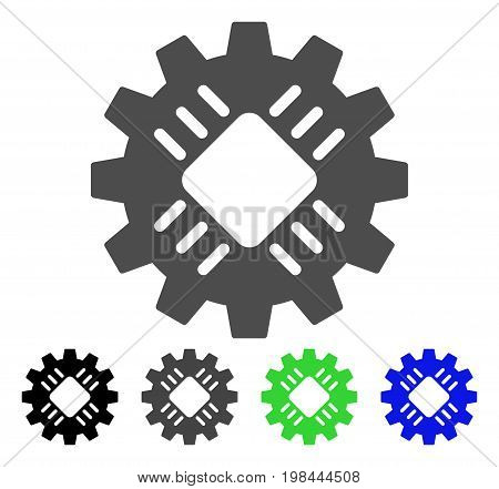 Hardware Gear flat vector icon. Colored hardware gear, gray, black, blue, green icon variants. Flat icon style for web design.