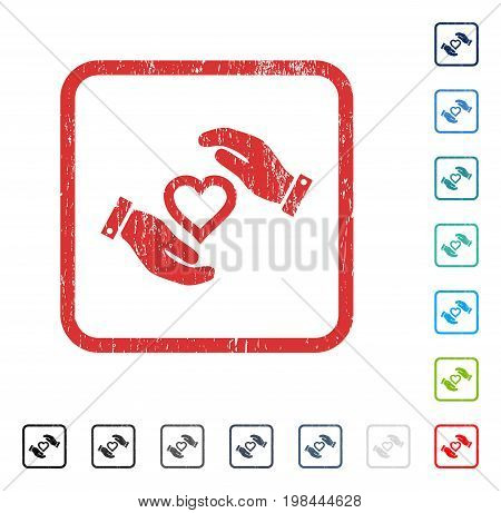 Love Heart Care Hands rubber watermark in some color versions.. Vector pictogram symbol inside rounded rectangular frame with grunge design and dust texture. Stamp seal illustration, unclean sticker.