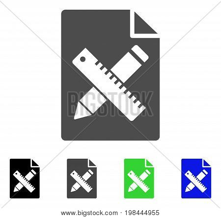Pencil And Ruler Design Tools Page flat vector pictogram. Colored pencil and ruler design tools page, gray, black, blue, green pictogram variants. Flat icon style for application design.