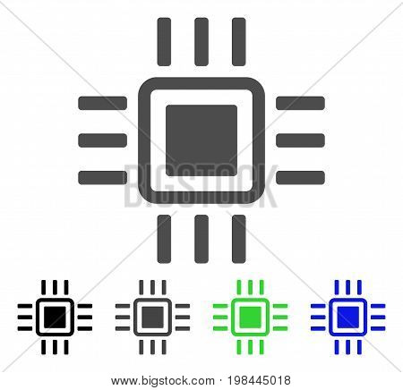Processor flat vector illustration. Colored processor, gray, black, blue, green pictogram variants. Flat icon style for application design.