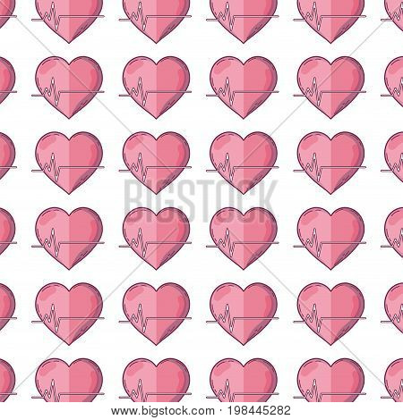 frequency vital cardiac rhythm heartbeat background vector illustration