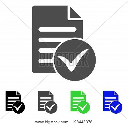 Test Page flat vector icon. Colored test page, gray, black, blue, green pictogram versions. Flat icon style for web design.