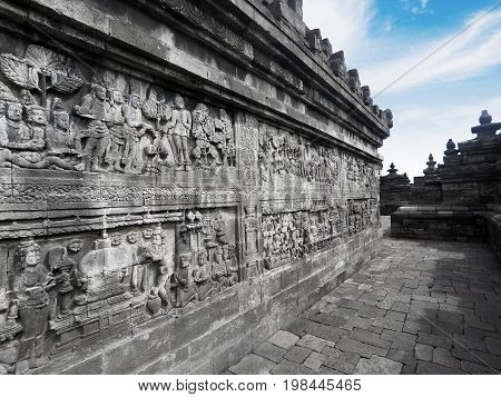 Image of amazing relief on the wall of Borobudur temple