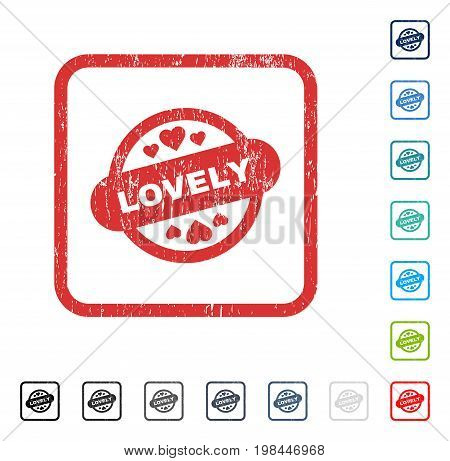 Lovely Stamp Seal rubber watermark in some color versions.. Vector icon symbol inside rounded rectangle with grunge design and dirty texture. Stamp seal illustration, unclean sign.