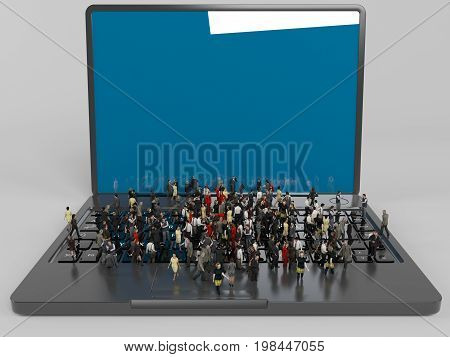A Lot Of 3D Characters On A Laptop