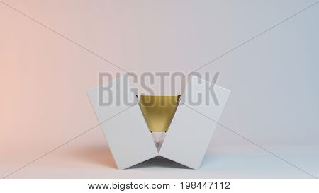Core Of Gold 3D Rendering On White Conceptual Idea