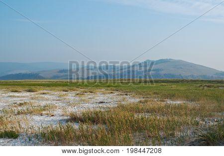 Dried salt lakes Barguzin valley Buryatia Russia.