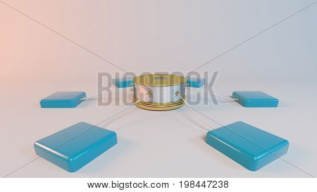 3D Rendering Of A Server Network Concept On White