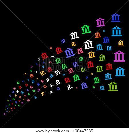 Source stream of bank building icons. Vector illustration style is flat bright multicolored iconic bank building symbols on a black background. Object fountain created from icons.