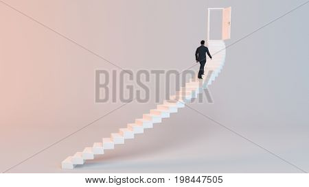 3D Rendering Of Business  Men Going To The Goal