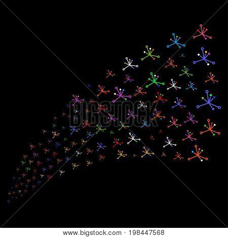 Source of big bang icons. Vector illustration style is flat bright multicolored iconic big bang symbols on a black background. Object fountain created from icons.