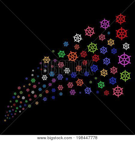 Stream of boat steering wheel icons. Vector illustration style is flat bright multicolored iconic boat steering wheel symbols on a black background. Object fountain organized from icons.
