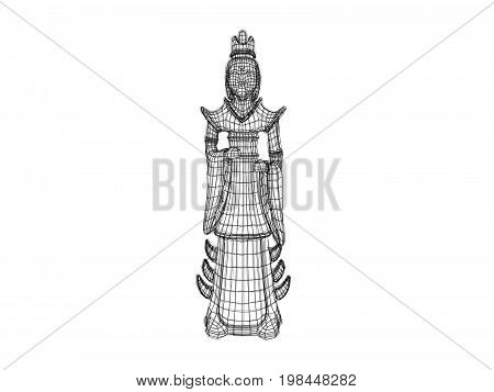 3D Statue Wireframe