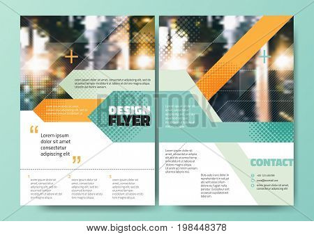Abstract Green orange blue stripe for Minimal Poster Brochure Flyer design Layout vector template