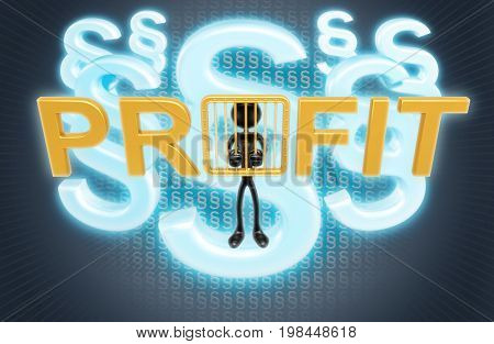 The Original 3D Character Illustration Behind Bars And The Word Profit