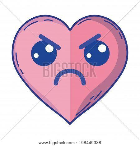 kawaii cute angry heart love vector illustration