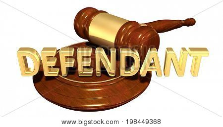 Defendant Legal Gavel Concept 3D Illustration