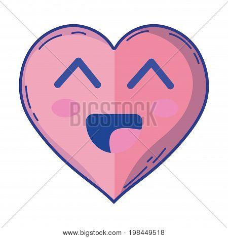 kawaii cute happy heart love vector illustration