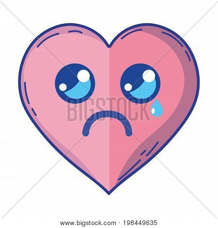 kawaii cute tender heart love vector illustration