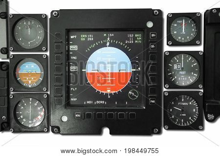 Image of cockpit display with weather radar speedometer and engine gauges in the jet plane