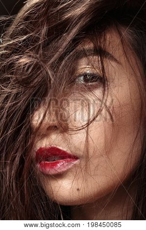 Photo Of Beautiful Girl With Magnificent Hair.closeup Portrait