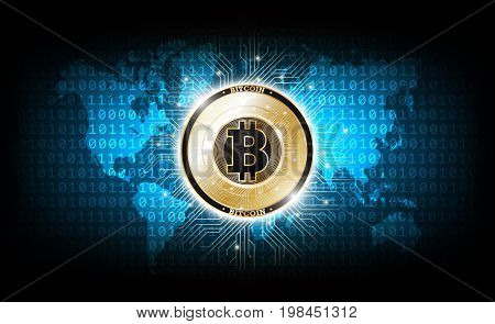 Golden bitcoin digital currency on binary code world map, futuristic digital money, technology worldwide network concept, vector illustration