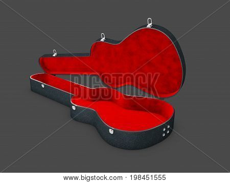 A Open Red Black Guitar Case, 3D Illustration Isolated Black