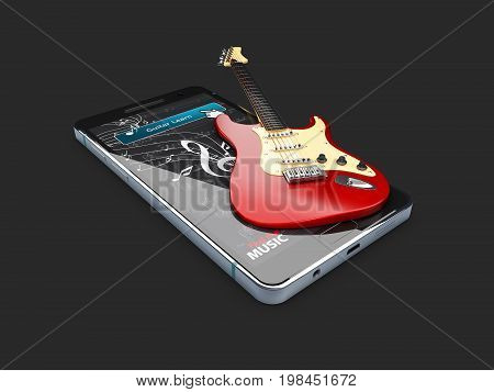 3D Illustration Of Guitar Lessons App. Isolated Black