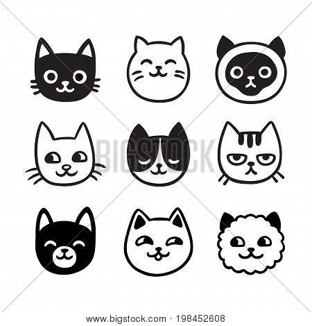 Cute cartoon cat doodle set funny vector icons. Hand drawn sketch style cat characters faces.