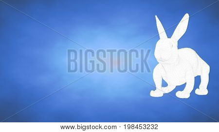 Outlined 3D Rendering Of A Rabbit Inside A Blue Studio