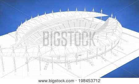 Outlined 3D Rendering Of A Stadium Inside A Blue Studio