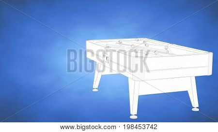 Outlined 3D Rendering Of Abilliard Table Inside A Blue Studio