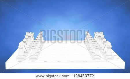 Outlined 3D Rendering Of A Chess Inside A Blue Studio