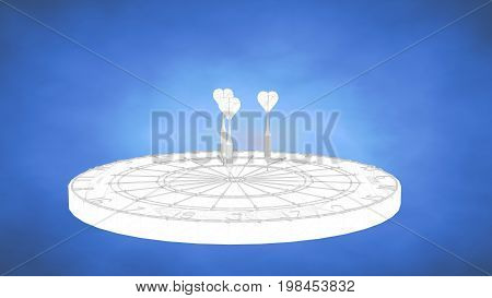Outlined 3D Rendering Of A Darts Inside A Blue Studio