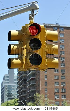 Red Traffic Light In Manhattan