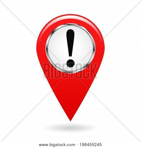 Map pointer. The pointer of important objects, warning of danger on the area map. safety symbol. The red object on a white background. Vector illustration.