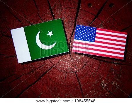 Pakistan Flag With Usa Flag On A Tree Stump Isolated