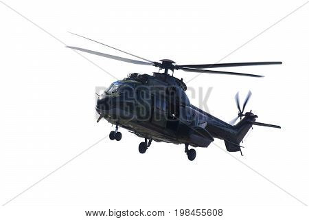 Image of military helicopter ready to fly isolated on white background