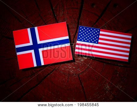 Norwegian Flag With Usa Flag On A Tree Stump Isolated