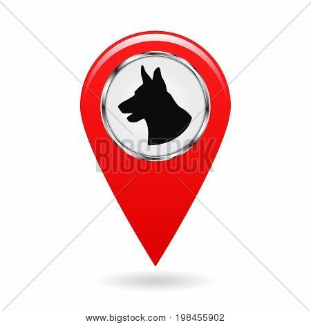 Pointer on the map. Location on the ground protected by dogs. Sign with silhouette of dog s head. Isolated object. Red pointer. White background. Vector illustration.