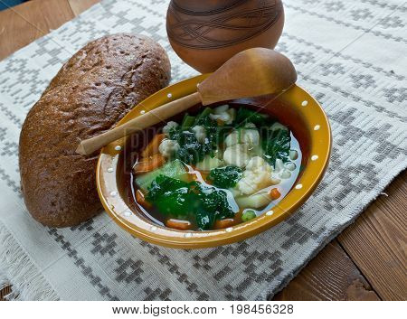 nettle soup.Russian green shchi with nettle close up  meal