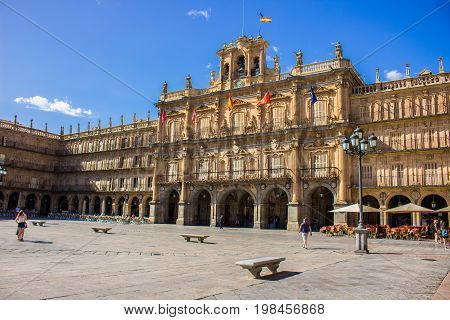 Plaza Mayor, Salamanca. Salamanca city, Castile and León, Spain. Picture taken - 29 july 2017.
