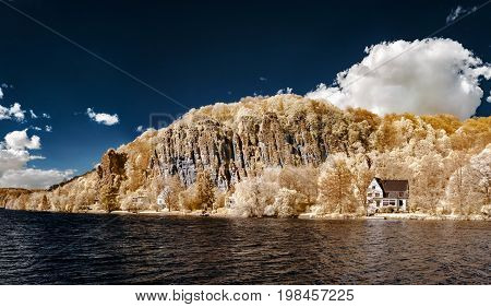 Natural Panoramic Infrared Landscape Of Messe River