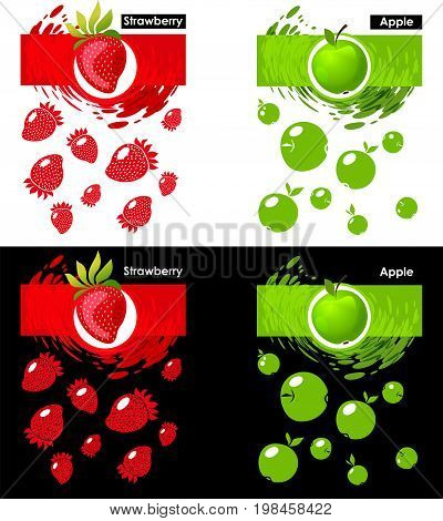 Set label icon of strawberry and apple fruit on white and black pattern strawberry and apple splash backdrop