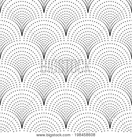 Abstract seamless background in vector. Seamless polka dots pattern. Black and white screen print texture. Graphic modern pattern. Vintage dotted background