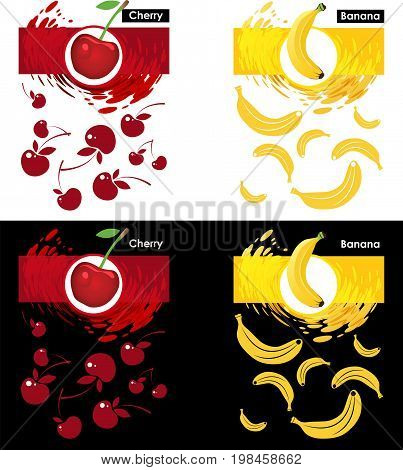 Set label icon of cherry and banana fruit on white and black pattern cherry and banana splash backdrop
